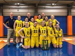 Picture of the St. Jude's Varsity girls after wining the regional championship